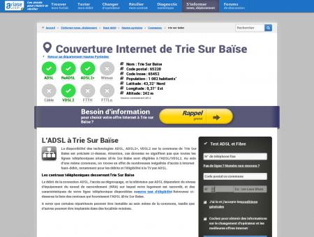 Couverture Internet de Trie Sur Baïse - ADSL,...