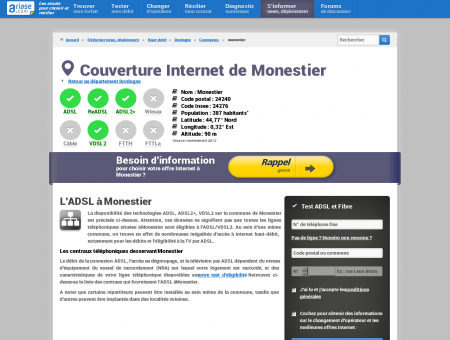 Couverture Internet de Monestier - ADSL,...