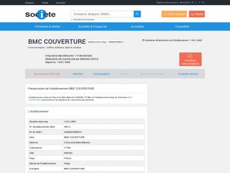 Etablissement BMC COUVERTURE à NOISIEL...