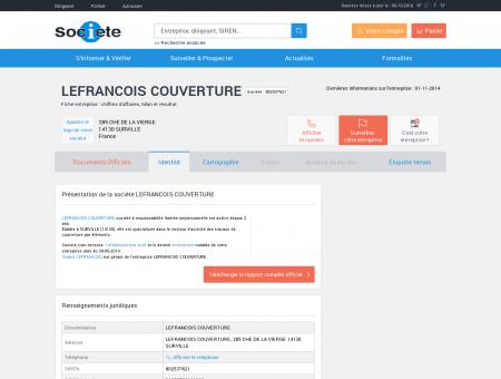 LEFRANCOIS COUVERTURE (SURVILLE) Chiffre...
