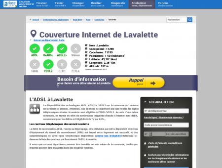 Couverture Internet de Lavalette - ADSL, fibre...