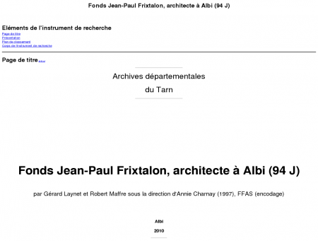 Fonds Jean-Paul Frixtalon, architecte à Albi (94 J)