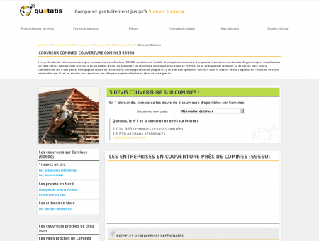 Couvreur Comines, Couverture Comines 59560