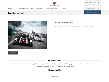 Porsche Couverture en direct - Porsche France