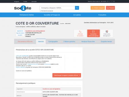 COTE D OR COUVERTURE (TALANT) Chiffre...