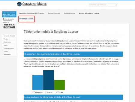 Téléphonie mobile, 3G et 4G à Bordères...