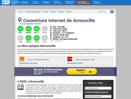 Couverture Internet de Arnouville - ADSL,...