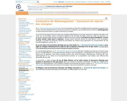 CWaPE - Consommateurs > Déménagement >...