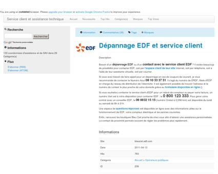 Dépannage EDF et service client Service client...