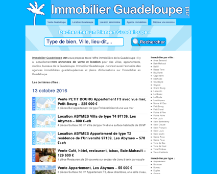 Immobilier Guadeloupe, Vente et location de...