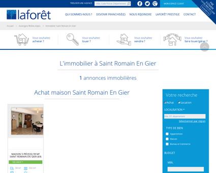 Immobilier Saint Romain En Gier, annonces...
