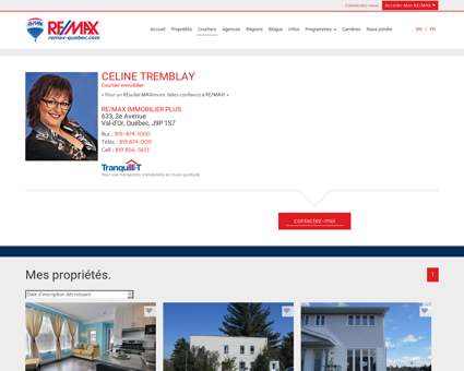 CELINE TREMBLAY de RE/MAX IMMOBILIER...
