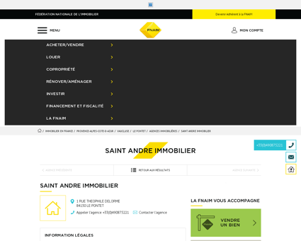 Agence - SAINT ANDRE IMMOBILIER - 84130 -...
