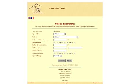 IMMOBILIER - TERRE IMMO SARL - Critère de...