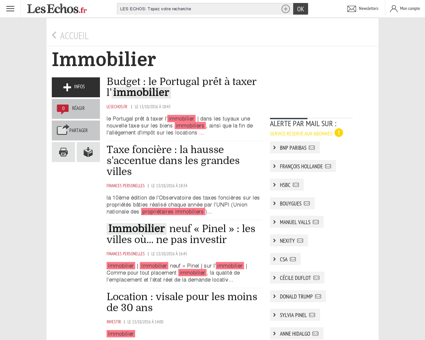 Topic - Immobilier - Les Echos