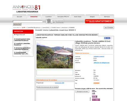 Investir immo Labastide-rouairoux 65000...