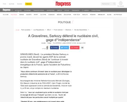A Gravelines, Sarkozy défend le nucléaire civil,...