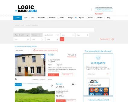 Achat La Capelle 02260: biens immobiliers