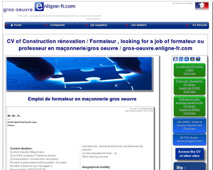 CV de Construction rénovation cherche emploi...