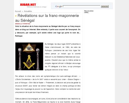 Révélations sur la franc-maçonnerie au Sénégal