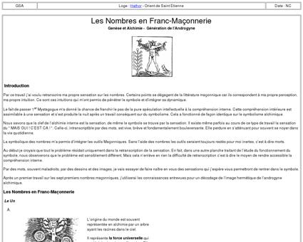 7033-1 : Les Nombres en Franc-Maçonnerie -