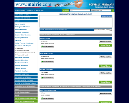 Maçonnerie, maçon Bains-sur-Oust : Mairie.com