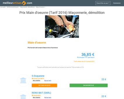 Prix Main d'oeuvre (Tarif 2016) Maçonnerie,...