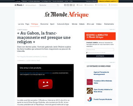 Au Gabon, la franc-maçonnerie est presque...
