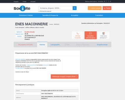 ENES MACONNERIE (BAGNOLET) Chiffre...