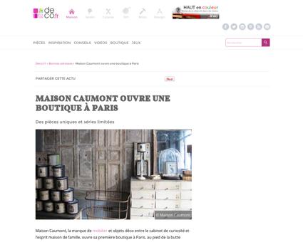 Maison Caumont ouvre une boutique à Paris