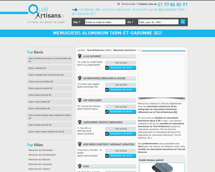 Menuisier aluminium Tarn-et-Garonne (82)