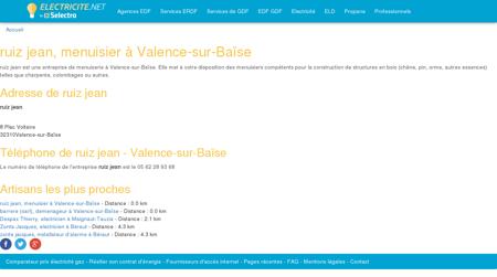 ruiz jean, menuisier à Valence-sur-Baïse