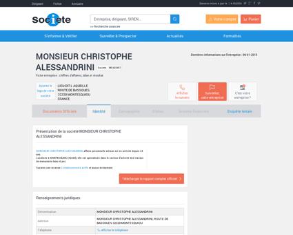 MONSIEUR CHRISTOPHE ALESSANDRINI...