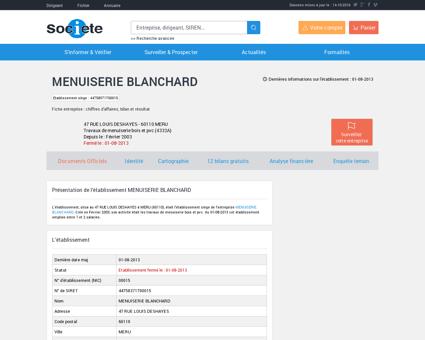 Etablissement MENUISERIE BLANCHARD à...