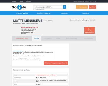 MOTTE MENUISERIE (BREUIL LE SEC) Chiffre...