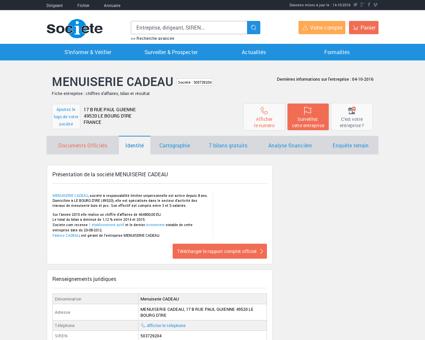 MENUISERIE CADEAU (LE BOURG D'IRE)...