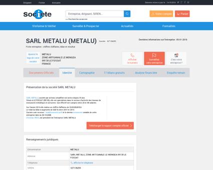 SARL METALU (LE FOSSAT) Chiffre d'affaires,...