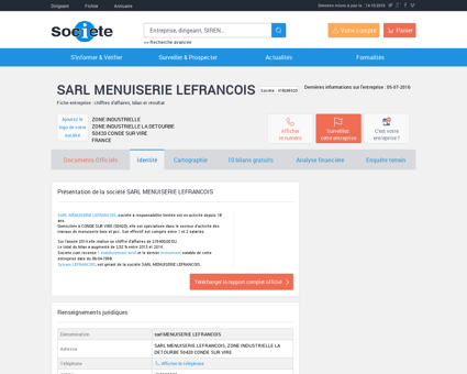 SARL MENUISERIE LEFRANCOIS (CONDE SUR...