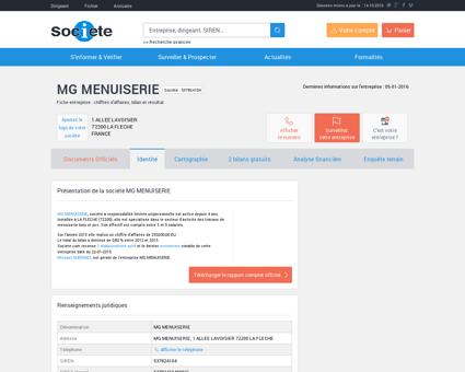 MG MENUISERIE (LA FLECHE) Chiffre d'affaires,...