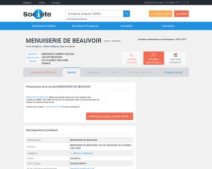 MENUISERIE DE BEAUVOIR (AUREC SUR...