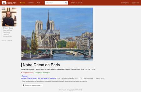 Peinture Notre Dame de Paris - Galerie d'art...