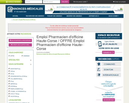 Emploi Pharmacien d'officine Haute-Corse /...