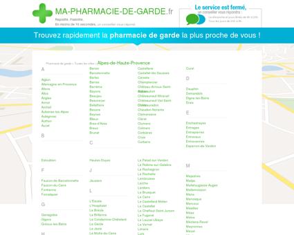 Pharmacies de garde dans le département 4 -...