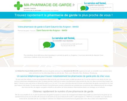 Votre pharmacie de garde à Saint-Saturnin...