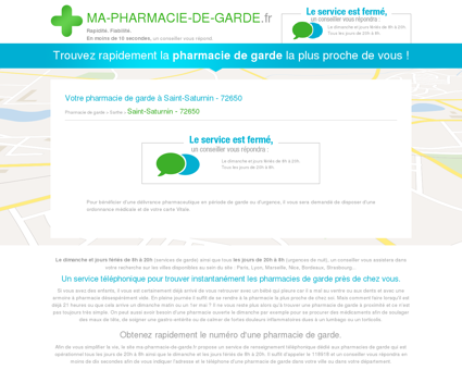 Votre pharmacie de garde à Saint-Saturnin -...