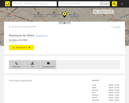 Pharmacie de Villiers Paris (adresse, horaires,...