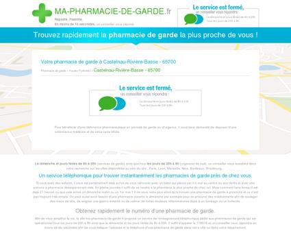 Votre pharmacie de garde à Castelnau-Rivière...