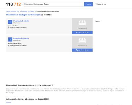 Pharmacies à Boulogne sur Gesse (31350)