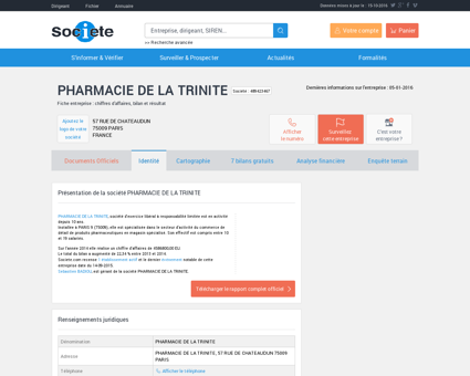PHARMACIE DE LA TRINITE (PARIS 9) Chiffre...