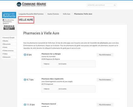Pharmacies à Vielle Aure (65170), plans...